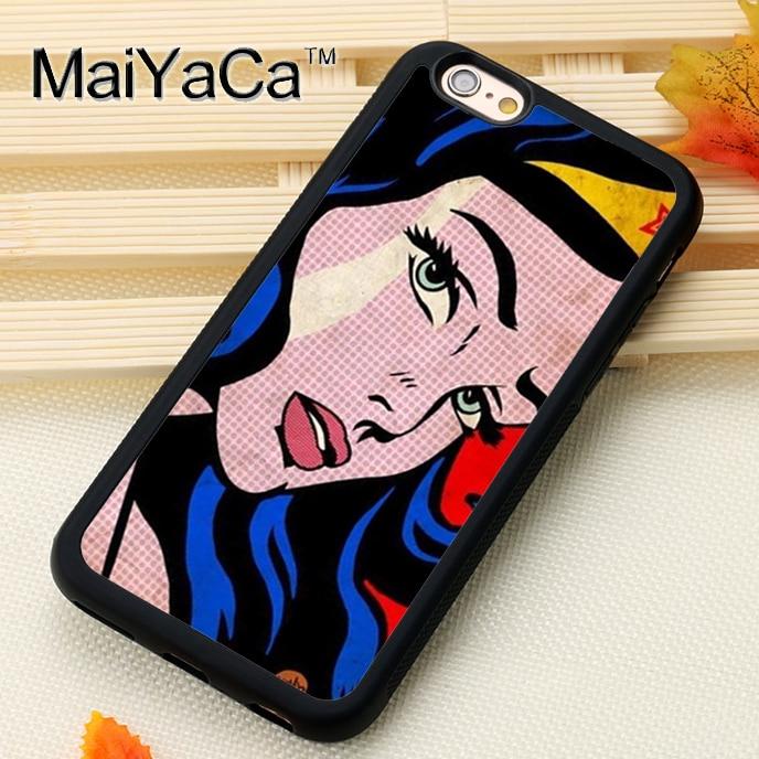 Maiyaca Wonder Woman Телефонные Чехлы для iPhone 6 6S Коке Дело черная резина мягкая ТПУ рисунок телефон задняя крышка