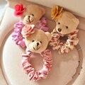 AGOOD 2 pçs/lote alta qualidade marca de moda urso de peluche bonito camellia lace faixa de cabelo corda cabelo para as mulheres crianças jóias accessoreis