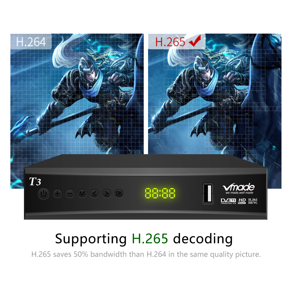 Image 5 - Vmade DVB T2 terrestrial receiver HD 1080P DVB T2 TV Tuner TV Box DVB T2 H.265 HEVC support youtube WIFI AC 3 Hot sales Germany-in Satellite TV Receiver from Consumer Electronics