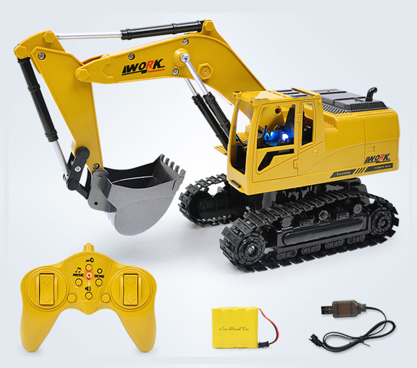 Hot Selling 8CH RC Excavator Toys Remote Control <font><b>Truck</b></font> Engineering Tractor Simulation Car Gifts With Music And <font><b>Light</b></font> For Boys image