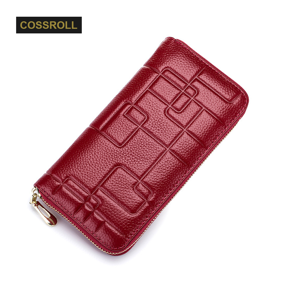 Cossroll Real Genuine Leather Women Wallets Geometric Design High Quality Cell phone Card Holder Long Lady Wallet Purse Clutch high quality first layer soft genuine leather men s credit card holder clutch wallet phone purse vintage design long wallets