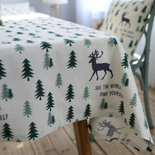 Linen Cotton Tablecloth Fresh Green Tree Fawn Washable Coffee Dinner Comfortable Table Cloth for Christmas Wedding Banquet