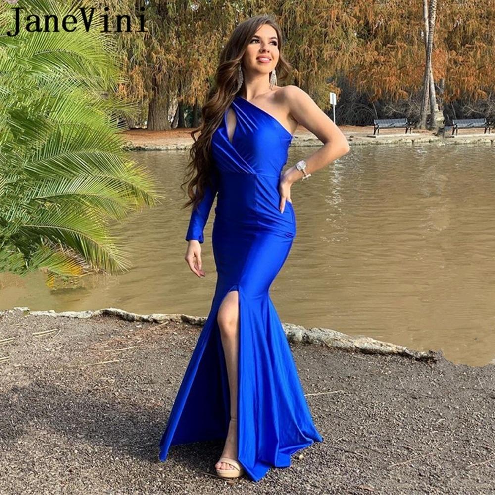 JaneVini Sexy bleu Royal à manches longues robes de bal 2019 une épaule côté fendu dos nu sirène Satin femmes robes de soirée formelles