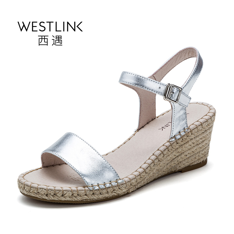 ФОТО Westlink Sheepskin Bling Buckle Shinning Upper Wedges Casual Women Sandals Shoes Gun-color Silver
