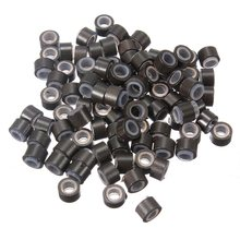 80-100pcs Silicone Lined Micro Rings Beads Loops Tip Hair Clips Hair Extensions 5mm Dark Brown Color Wholesale Free Shipping