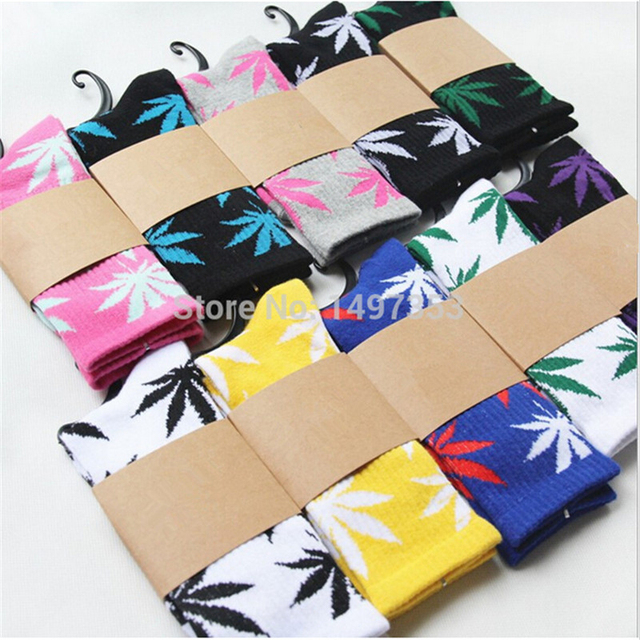 (20 Colors) High Quality Harajuku Style Weed Socks For Women Men's Hip Hop Cotton Skateboard Sock for Man