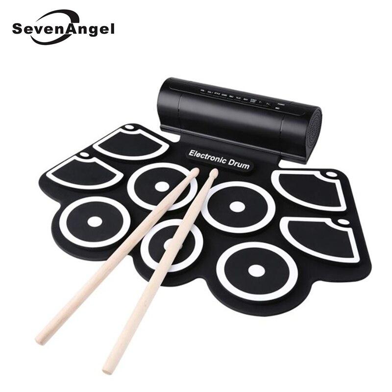 Instrument de pratique de tambour électronique Portable enroulable Kits de coussinets de haut-parleur intégrés à 9 battements avec 2 pédales et bâtons de tambour
