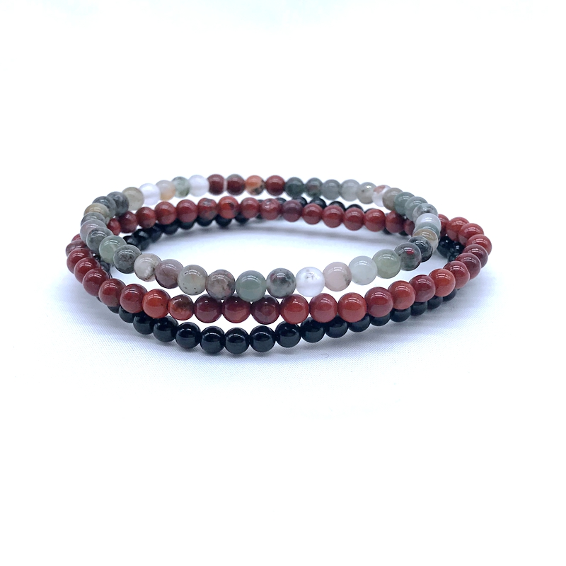Set Bracelet 4 mm Nature stone Bead Women Bracelet 3 pcs /set Red Stone Blood Jaspers Black Agates Stone For Girl Gifts #13