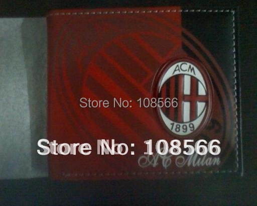 acmilan color printing PU wallet / ac milan popular football purse