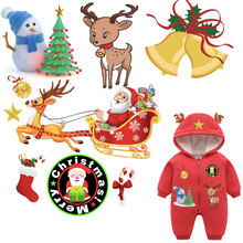 christmas patches holiday clothes stickers for kids iron on transfers diy accessory decoration festival children gift