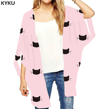 KYKU Brand Cat Loose Kimono Women Animal Print Cardigans Pink Shirts Graffiti Open Stitch Blouse Ink 3d Blouse Womens Clothing