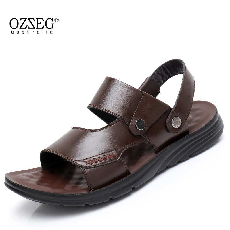 New Fashion Summer Leisure Beach Mens Sandals Breathable Man Shoes Genuine Leather Sandals Soft