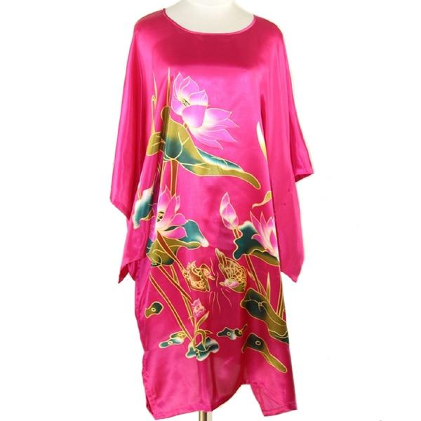 Hot Pink Chinese Style Rayon Silk Robe Dress Women Summer Sexy Sleepwear Nightdress Kaftan Bath Gown Flower Plus Size S4017