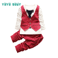 1 2 3 4 Year Boys Clothing Set 2019 Spring Autumn New Children Gentleman Suit Long Sleeve Shirts Pants 2Pcs Kids Clothes for Boy