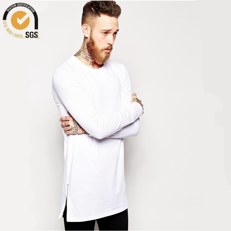 21fe0b70 Mens Longline tshirts Long Sleeve Crew Neck Longline T Shirts Men Long Fit  T Shirt Tall Tee Fashion Streetwear Free Shipping-in T-Shirts from Men's  Clothing ...