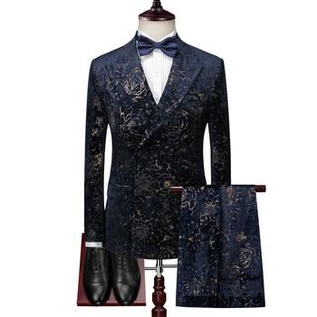 Men's Dinner Dress Gentleman Double Breasted Suit Set / Printed Craft Velvet Suit Set 3pcs (blazer+ vest + pants) suits