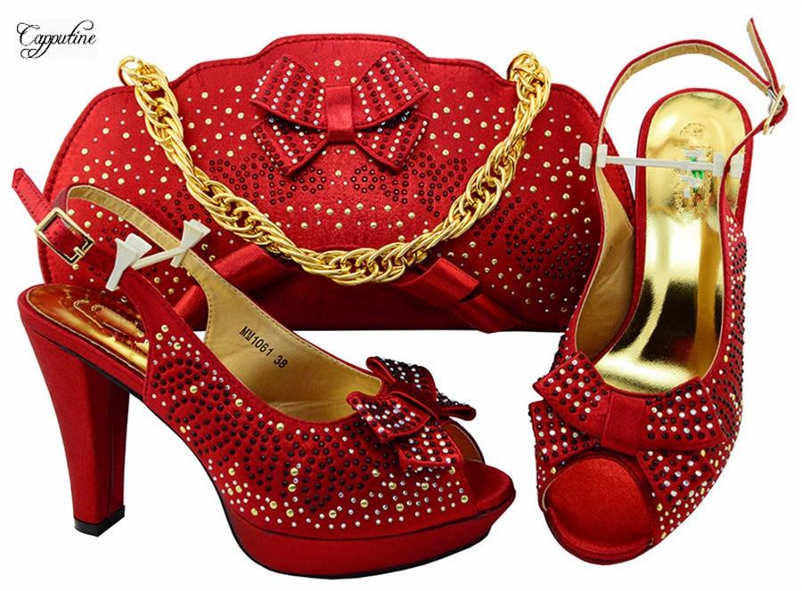 Популярные Красные босоножки на высоком каблуке и сумки набор модные туфли-лодочки с сумкой MM1061 Каблук 10.5 см