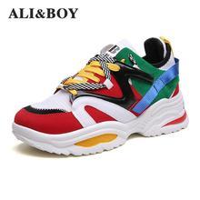 Размер 35-48 женские кроссовки увеличивающие рост 6 см Ins Ulzza кроссовки Harajuku амортизация Высокая платформа дышащая Спортивная прогулочная обувь