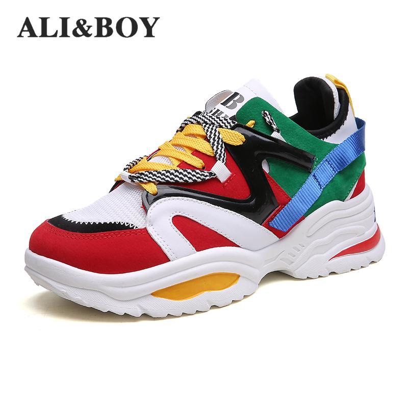 Tamaño 35-48 mujeres zapatos creciente 6 cm Ins Ulzza Harajuku zapatillas de deporte amortiguación altura plataforma transpirable deportes caminando