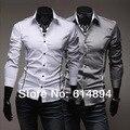 Летний стиль 2016 новое поступление личности мужчины мода свободного покроя уменьшают подходящие рубашки с длинными рукавами высокое качество Camisa