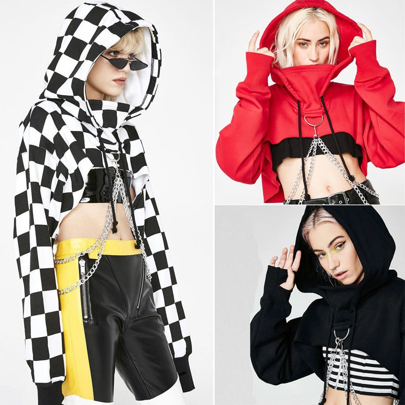 Fashion Women Individual Hoodie Sweatshirts Crop Tops Hooded Spaghetti Strap Chain Cool Hoodies Pullover