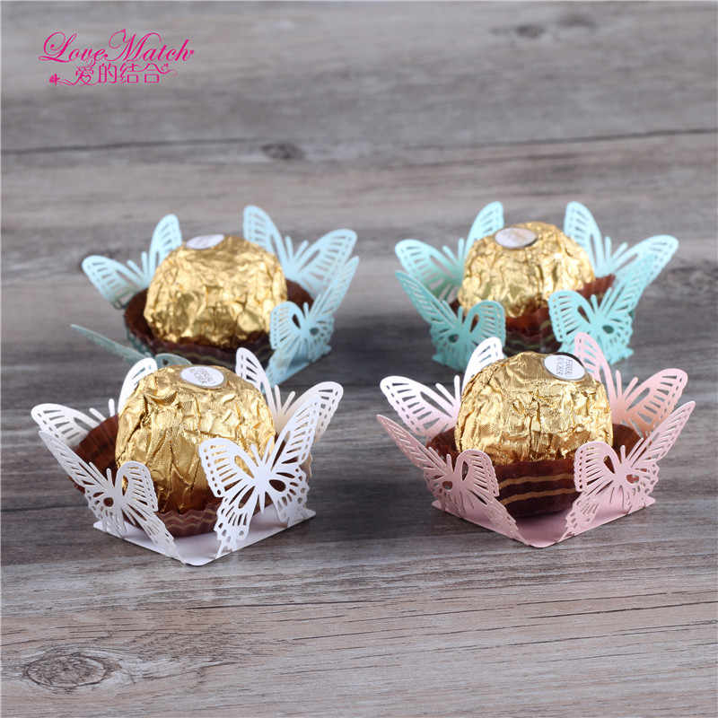 50 Pcs Butterfly Laser Cut Candy Bar Wedding Favors And Gifts Pearl Paper Chocolate Holder Party Favors Baby Shower