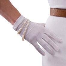 قفازات من الحرير الطبيعي دودة القز الحرير مرونة واقية من الشمس الجمال قصيرة نمط سيدة حليبي أبيض لمس قفازات العروس WZS01