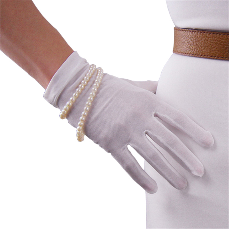 Real Silk Gloves Natural Silkworm Silk Elasticity Sunscreen Beauty Short Style Lady Milky White Touchscreen Bride Gloves WZS01
