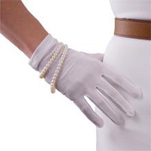 Real Silk Gloves Natural Silkworm Silk Elasticity Sunscreen Beauty Short Style Lady Milky White Touchscreen Bride Gloves WZS01