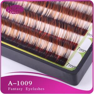 Mixed size silk eyelash Colorful False Eyelash Extension 0.1mm C Curl Double Colors in single eyelash natural false eyelashes