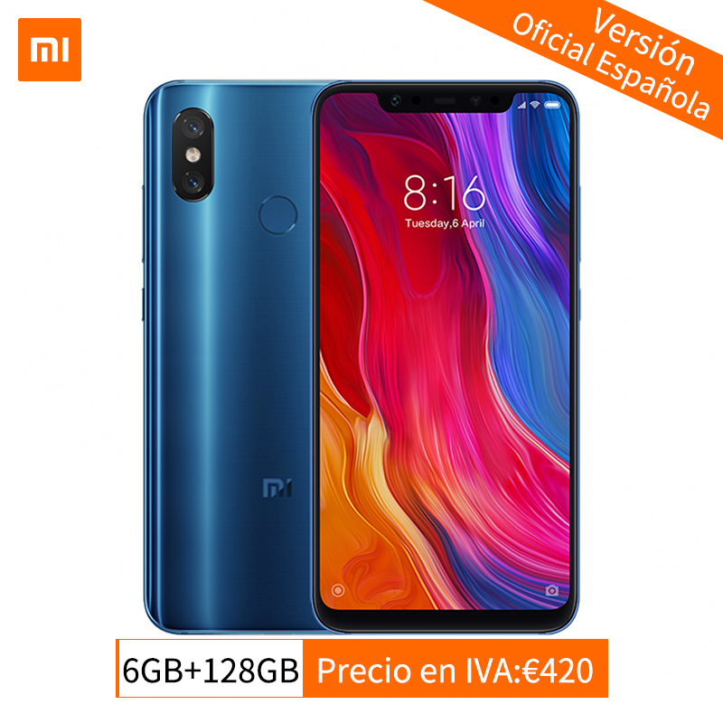 "Global Version Xiaomi Mi 8 6GB 128GB MIUI 10 Smartphone Snapdragon 845 Octa Core 6.21"" 2248*1080P NFC QC 4.0 20MP Front Camera"