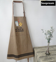 Nordic Mediterranean style women Kitchen Apron men thick Cooking cleaning funny party chef cotton holiday aprons with pockets