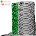 Case para iphone 7 original luxo python couro genuíno tampa traseira para a apple iphone7 escudo do telefone 4.7 de polegada
