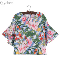 Qlychee Stripe Floral Ruffle Flare Sleeve Blouse Women Summer Short Sleeve O Neck Cotton Shirts