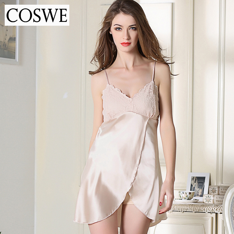 COSWE XXL Lace Satin Silk Women Dressing Gown Womens Nightgown Champagne Nightshirts Sexy Nightdress Ladies Plus Size Nightgowns