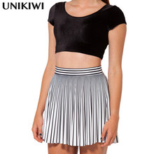 Top Quality Women's Black White Stripe Skirts.Ladies High Waist Umbrella Skirts.Plus Size Elastic Waist Pleated Skirt.S-4XL size(China)