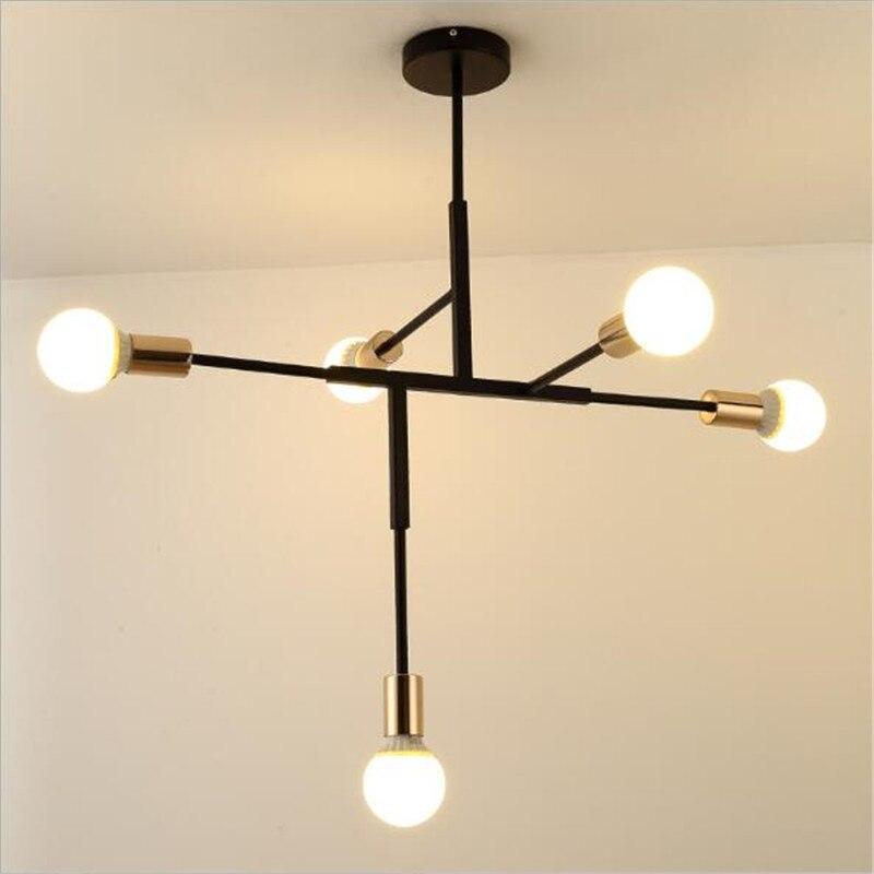 Modern Simple Black Iron Led E27 5 Pendant Light for Foyer Dining Room Bedroom Bar Deco 72 76cm 110 220V 2288 in Pendant Lights from Lights Lighting
