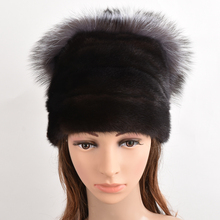 Russia winter hats Luxury mink fur hat genuine with whole silver fox fur top fashion elegant beanies high-end female cap