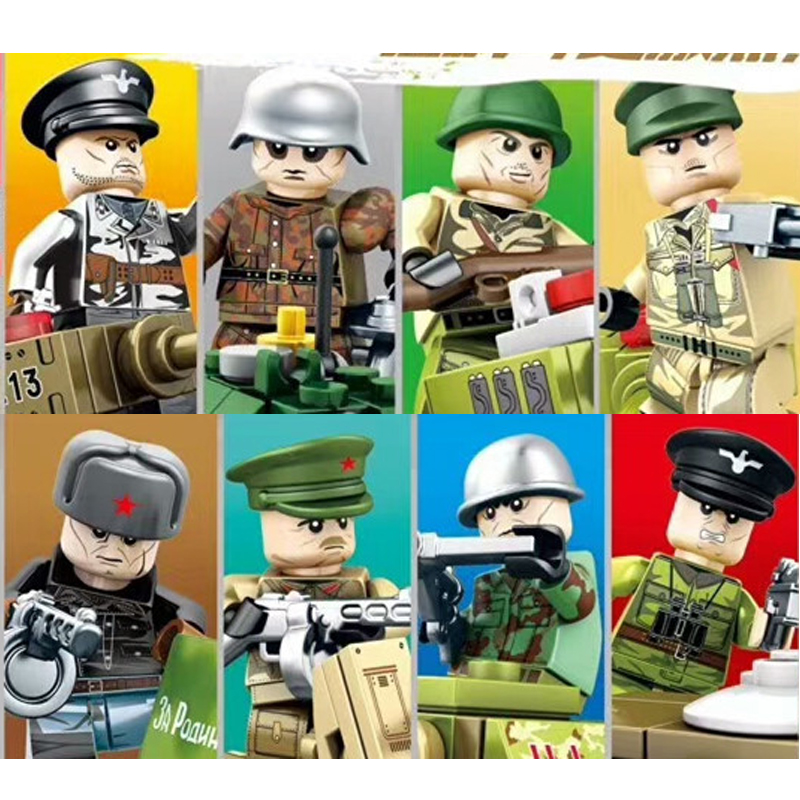 8pcs/sets WW2 Russian American Military Army SWAT Soilders Building Blocks sets With Weapons accessories Education toys military city police swat team army soldiers with weapons ww2 building blocks toys for children gift