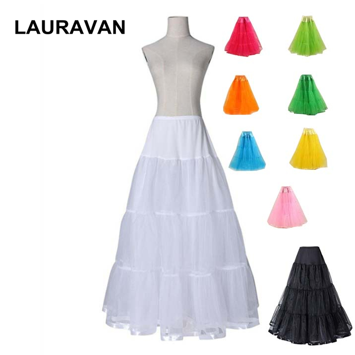 Multi Color Black Women Long A Line Tulle Wedding Bridal Petticoat Puffy Tulle Hoopless Underskirt Crinolines For Wedding Dress