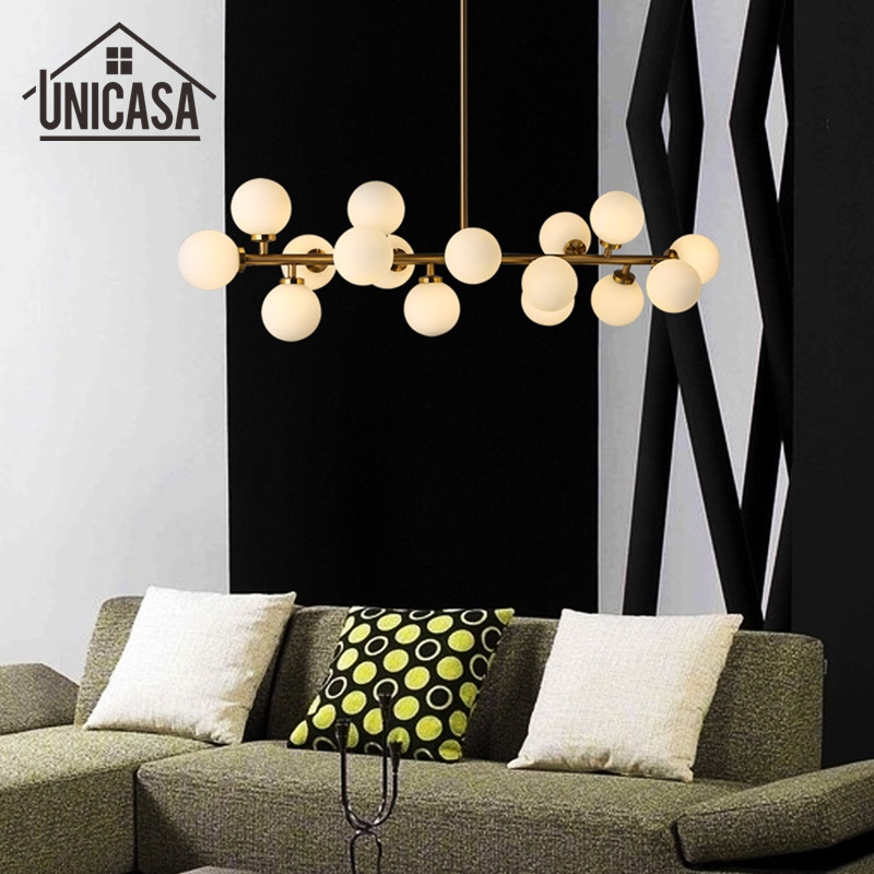 Modern Ceiling Lamp Golden Kitchen LED Pendant Light Glass Shade Lights Iron Large shop Art decoration Office Pendant Lighting modern shade glass artistic pendant golden and black e14 bulb modern lighting sphere beanstalk molecular mall shop decoration