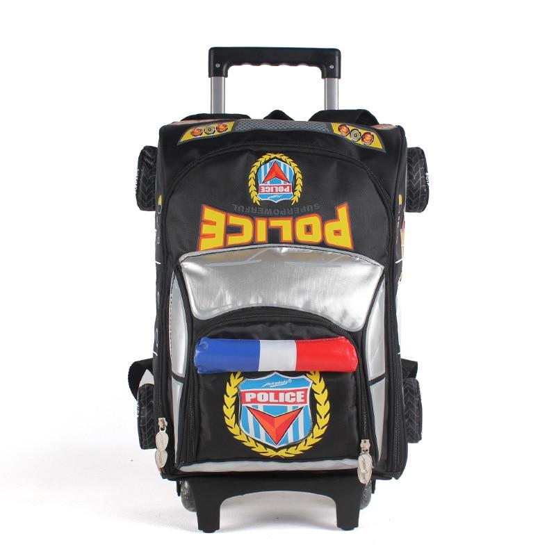 3d cartoon car wheeled backpack school boys new high quality waterproof nylon trolley school bag