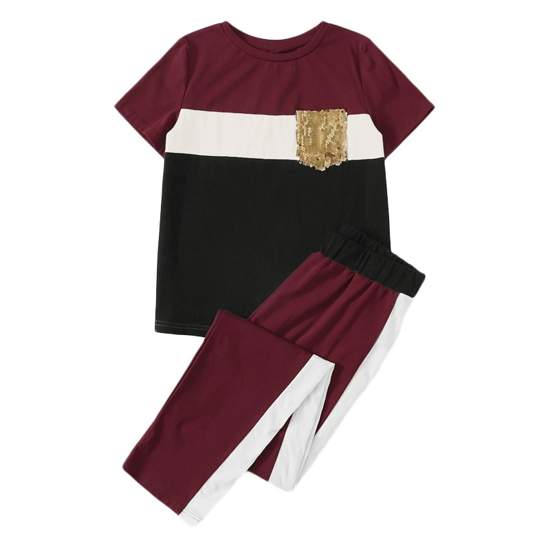 1da7a2ac34 SHEIN Sequin Pocket Patched Colorblock Top and Pants Set Short Sleeve Two  Piece Set 2019 Casual