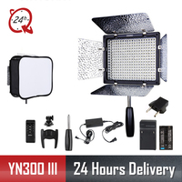 Yongnuo YN300 III YN 300 III 3200k 5500K CRI95 Camera Photo LED Video Light with AC Power Adapter + Battery KIT + Soft mask
