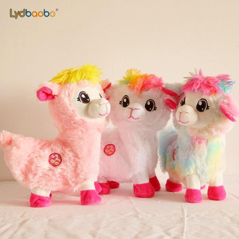 28cm Electric Singing Music Sheep Plush Soft Shaking Alpaca Stuffed Animal Toys Electronic Turn Around Sheep Doll Kid Christmas