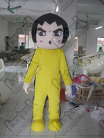 export high quality Black short hair yellow tracksuit boy mascot cartoon clothing/new hot selling mascot costume