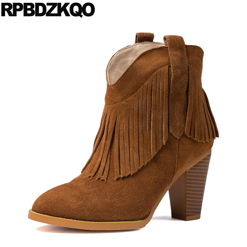 2017 Luxury Short Suede Women Ankle Boots Medium Heel Brown Booties Genuine Leather Slip On High Fringe Shoes Tassel Chunky strange heel women ankle boots genuine leather elastic booties wedge shoes woman high heels slip on women platform pumps
