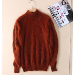 Image 4 - Nieuwe echte nerts kasjmier trui vrouwen 100% nertsen kasjmier truien met coltrui kraag gratis verzending JN465