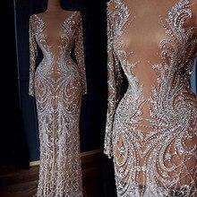 Dubai Designer Luxury Illusion Sexy Evening Dresses 2020 Nude Long Sleeve Beading Sequined Evening Gowns Real Photo LA60775