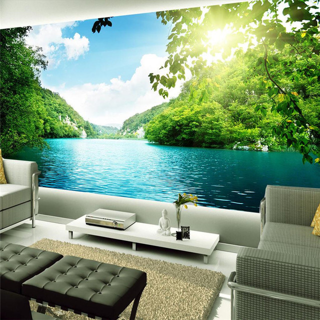 Grey Fabric Vertical Curtain Blue Landscape Wallpaper Living Room ...